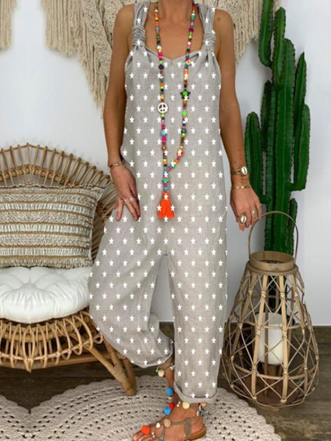 Light Gray Printed Spaghetti-Strap Jumpsuits