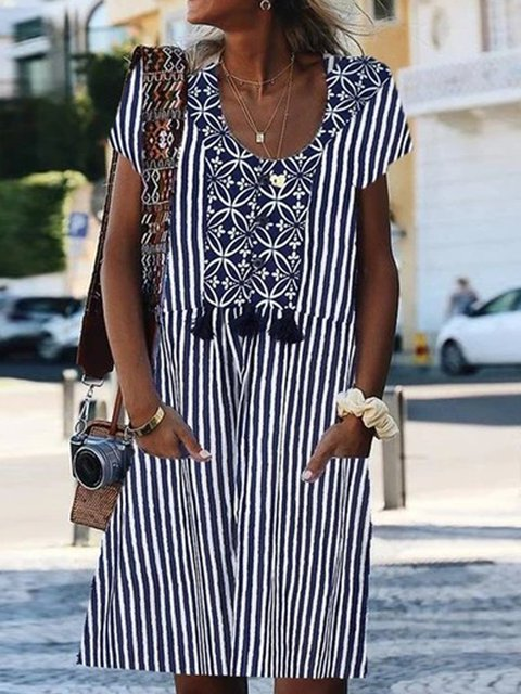 A-Line Striped Casual Short Sleeve Dresses