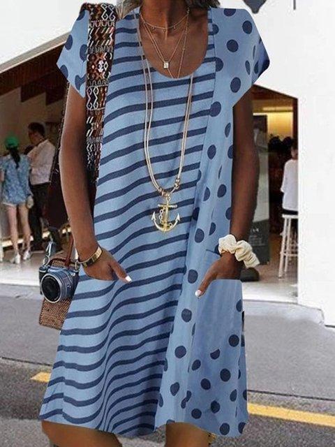 A-Line Casual Polka Dots Dresses