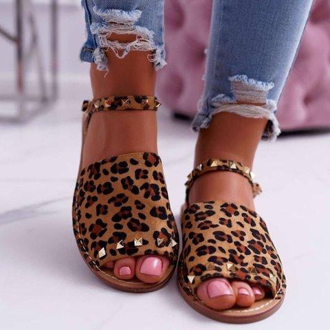 Casual Summer Peep Toe Leopard Sandals