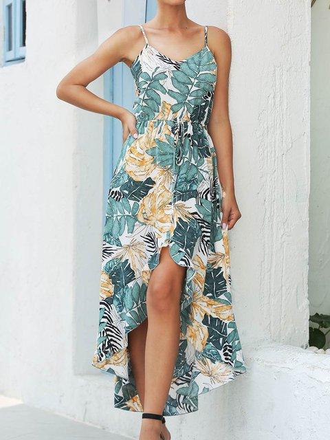 Bohemian Print Strap Irregular Dress