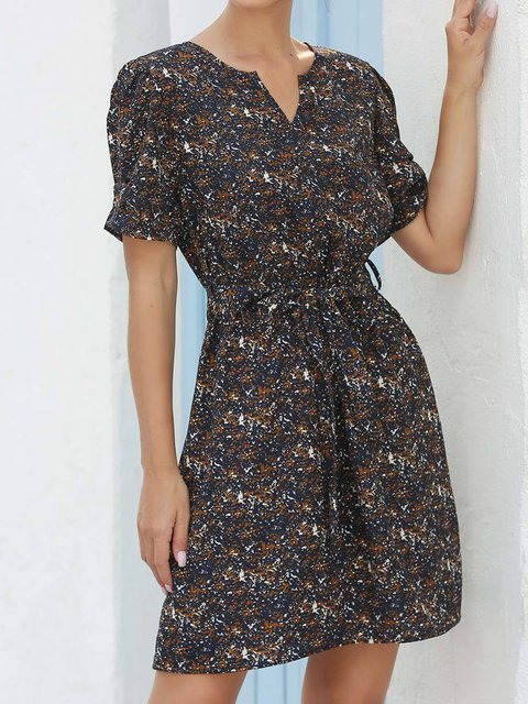 V-neck Printed Casual A-line Ddress