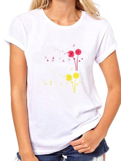 Dandelion Print Short Sleeve Shirts & Tops