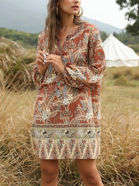 Boho Tribal V Neck Holiday Floral-Print Dresses