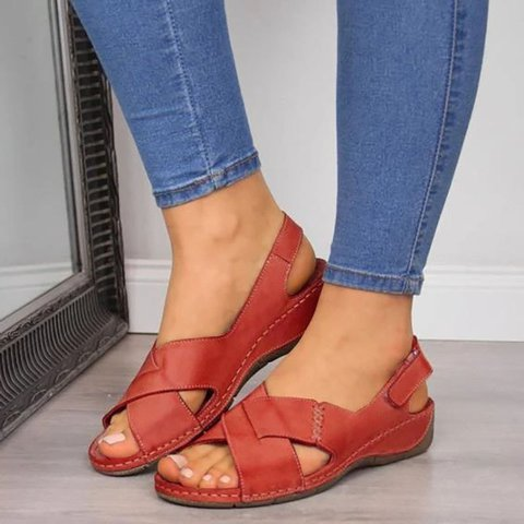 Women Casual Summer Daily Comfy Criss-Cross Wedge Sandals