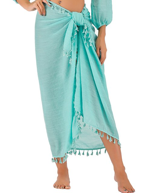 Fringed Beach Holiday Apron Skirt Sun Protection Shawl