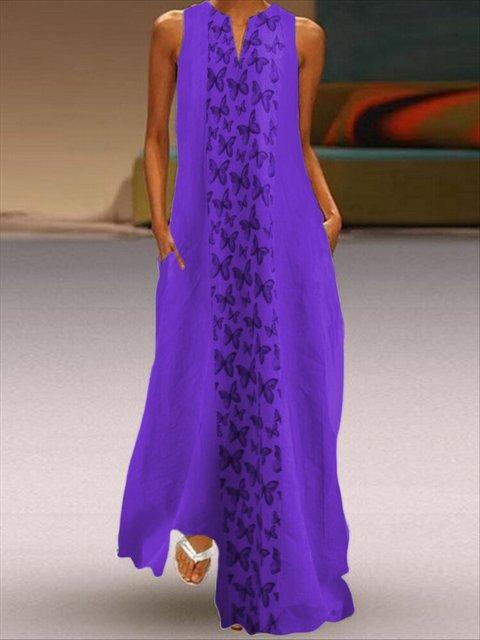 Boho A-Line Sleeveless Floral V Neck Maxi Dresses