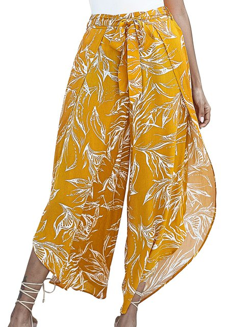 Printed Casual Loose Wide Leg Trousers
