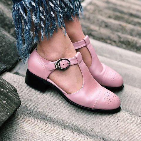 Women Casual Summer Daily Oxford T-Strap Shoes