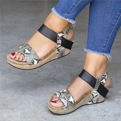 Snakeskin Leather Summer Casual Sandals