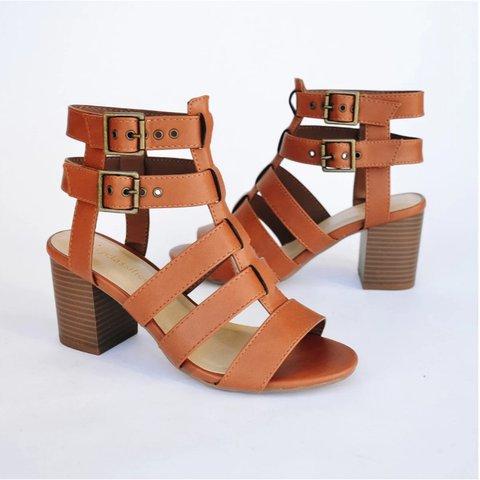 Chunky Heel Summer Buckle Sandals