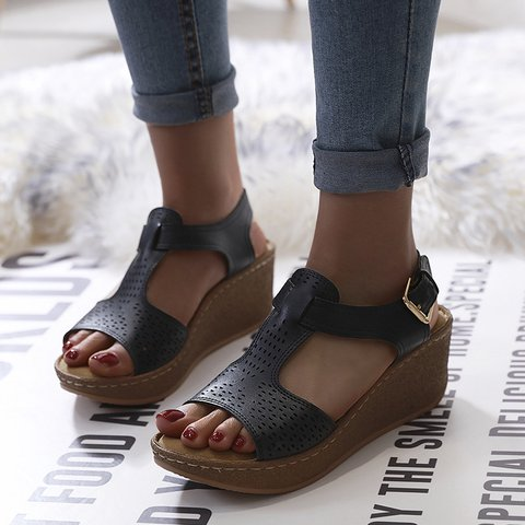Leather Wedge Heel Daily Sandals