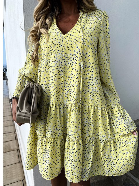Printed/dyed Cotton-Blend Sexy Polka Dots Dresses