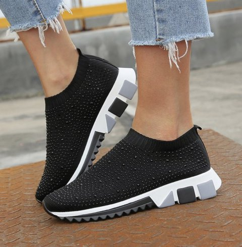 Black All Season Flat Heel Fly-Woven Fabric Sneakers