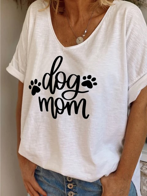 Summer casual basic simple dog mother letter printed V-neck loose T-shirt