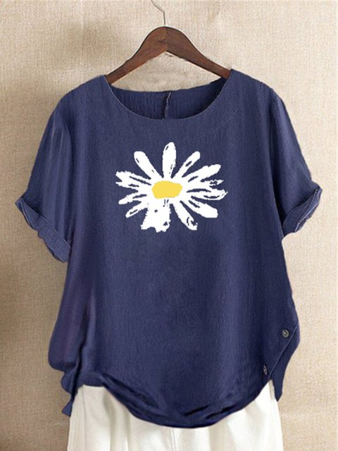 Blue Floral-Print Casual Cotton Shirts & Tops