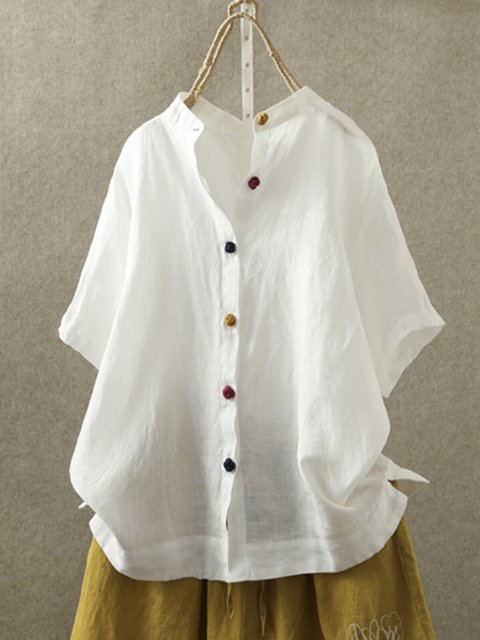 White Casual Plain Shirts & Tops
