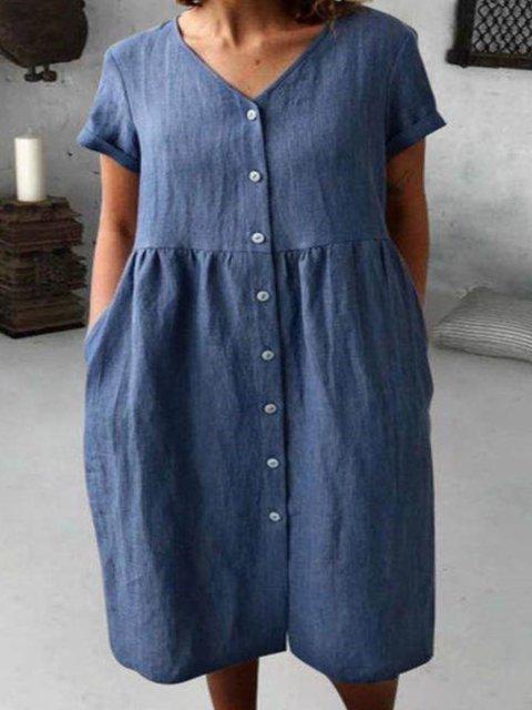 Casual Cotton Plain V Neck Dresses