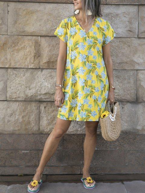 Yellow Short Sleeve Boho Dresses