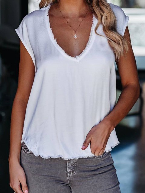 White Casual Short Sleeve Plain Cotton-Blend Shirts & Tops