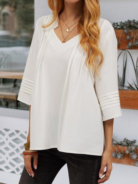 White Chiffon 3/4 Sleeve Shift V Neck Shirts & Tops