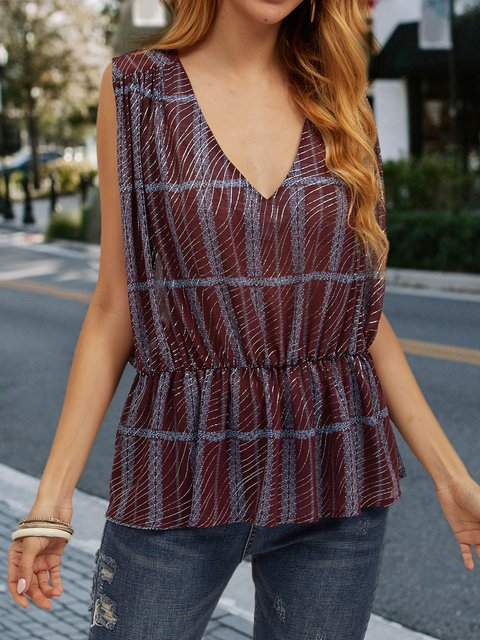 Wine Red Sleeveless Chiffon Shirts & Tops