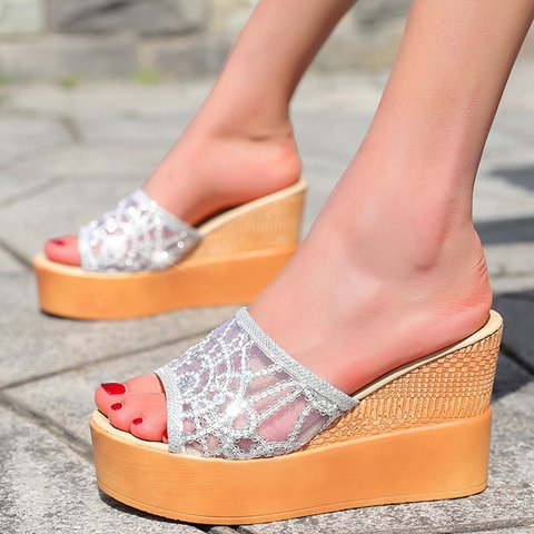 Slip-On Summer Open Toe Wedge Heel Slippers