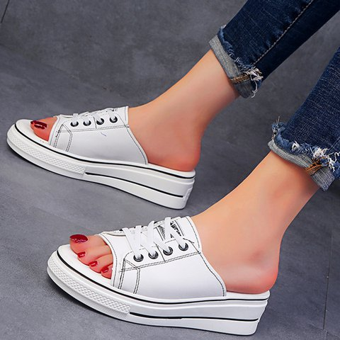 Women Open Toe Platform Lace-up Comfy Slippers