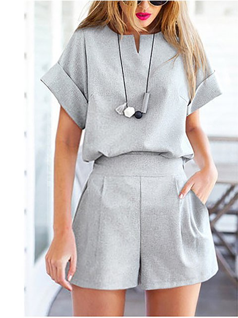 Small V-neck Short Sleeves Shorts Two-piece Suit