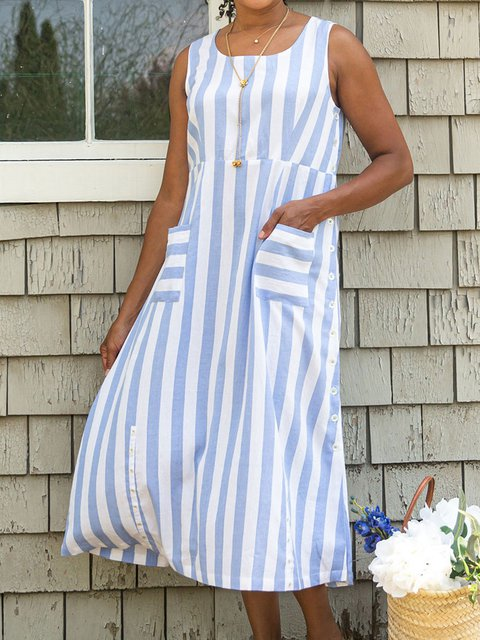 Women Striped Caftan Pockets Shift Casual Dresses