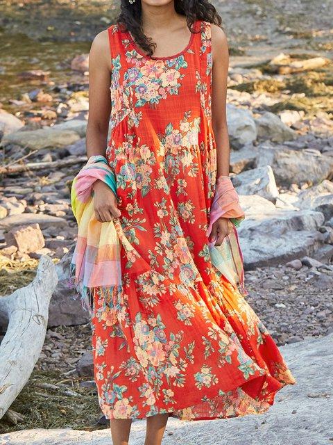 Women Floral Caftan Casual Summer Dress