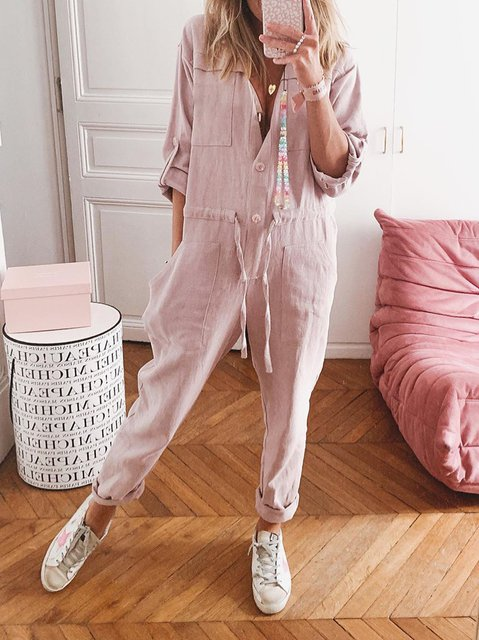 Pink Casual Linen Shift Shirt Collar One-Pieces