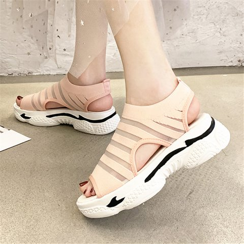 Women Slide Peep Toe Creeper Heel Mesh Daily Sandals
