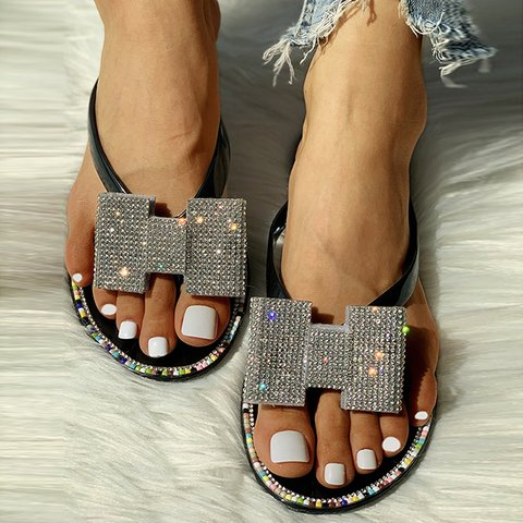 Bowknot Rhinestone Flip-Flops