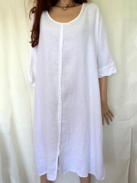 White Shift Casual Cotton-Blend 3/4 Sleeve Dresses