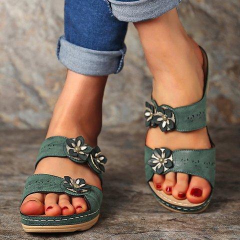 Flower Low Heel Slip-On Pu Womens Solid Slippers