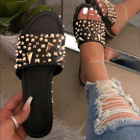 Black Summer Daily Artificial Leather Slippers