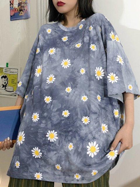 Dye Cotton-Blend Crew Neck Short Sleeve Shirts & Tops