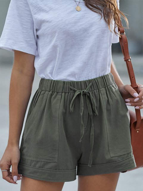 Women's Elastic Waist Shorts Plain Casual Pant