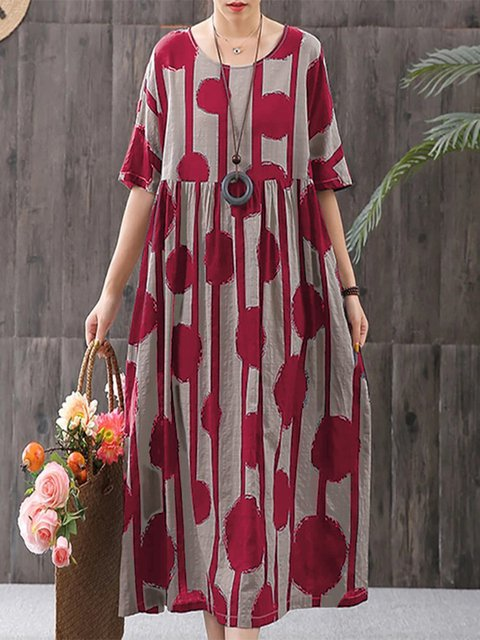 Short Sleeve Casual Dots Cotton Maxi Dresses