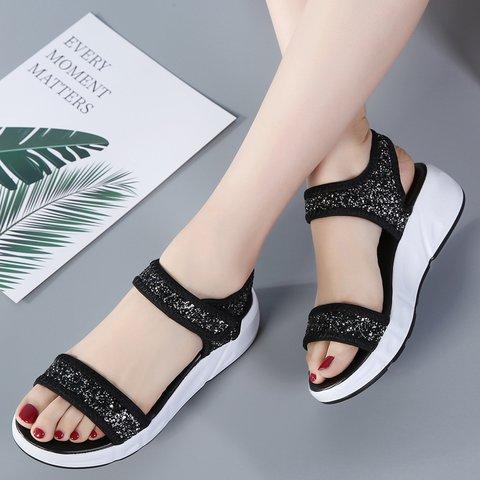 Women Magic Tap Pu Summer Casual Flat Heel Sandals
