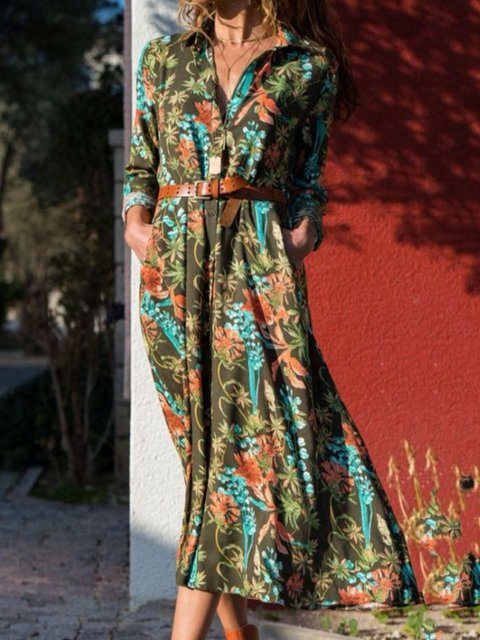Floral Pockets Midi Dress Plus Size Long Sleeve Dresses