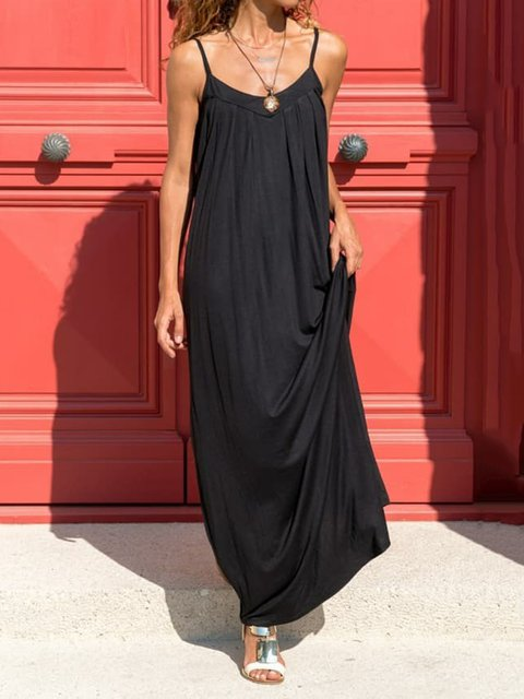 Solid Spaghetti Maxi Dress Women Plus Size Dresses