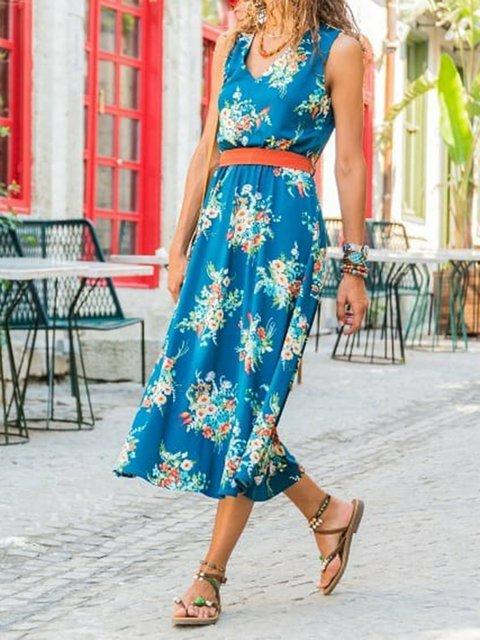 Floral Sleeveless Midi Dress V Neck Dresses