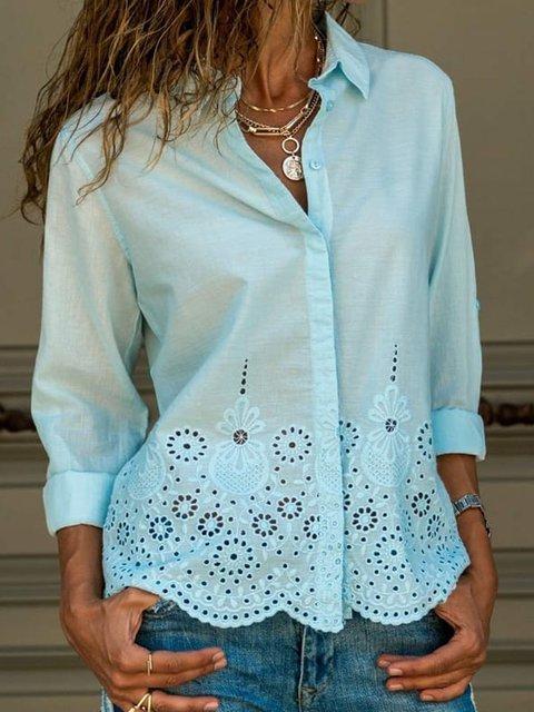 Women Solid Eyelet Shirt Long Sleeve Blouses