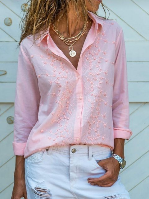 Women Solid Embroidery Shirts Long Sleeve Blouses