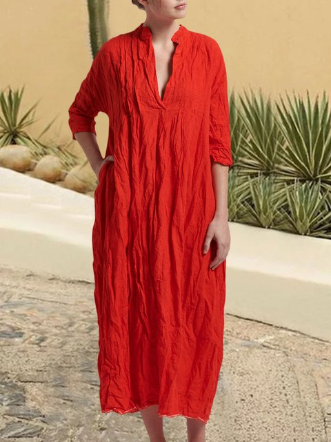 Maxi Linen V-neck Shift Plain Plus Size Women Summer Dresses