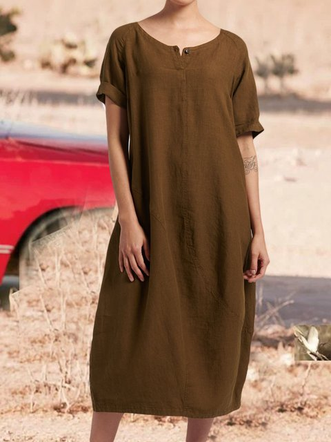 Casual plus size round neck loose dress
