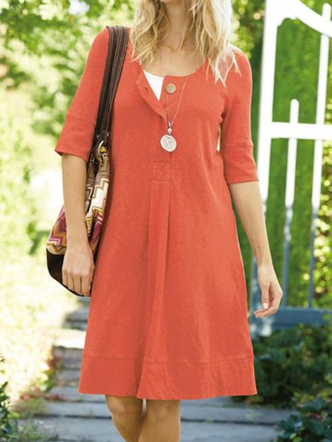 Women Kaftan Buttoned Shift Casual Dresses