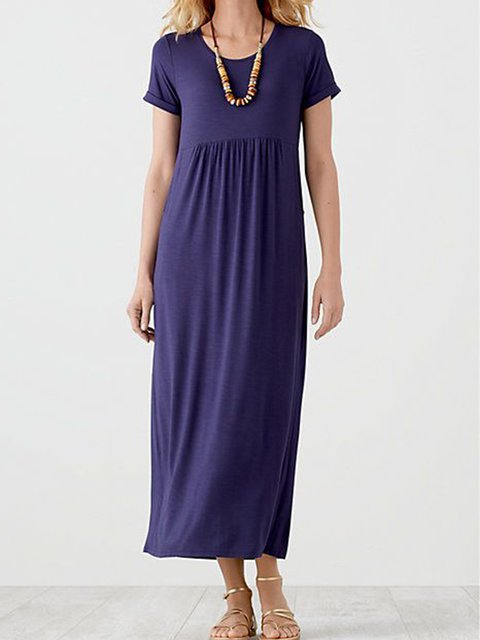 Women Pleated Details Solid Shift Dresses